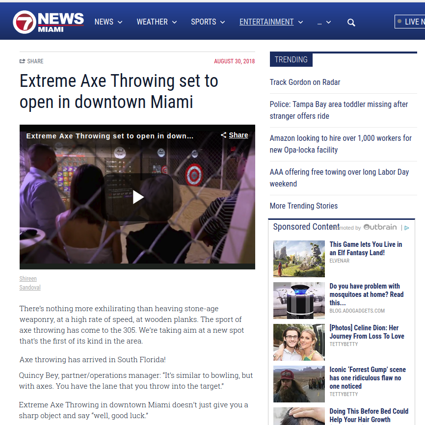 WSVN Channel 7 Miami – Sports Xtra - Extreme Axe Throwing